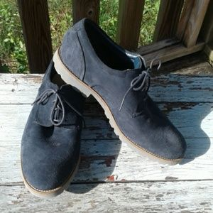 Men's Rockport Navy Suede Lace Up Casual Shoes